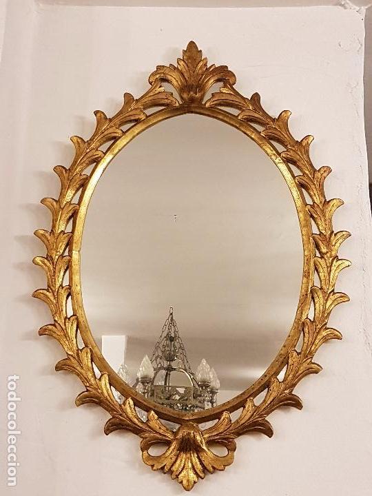 Antigüedades: ANTIGUO ESPEJO CORNUCOPIA DE MADERA TALLADA - Foto 2 - 66875938