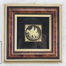 Antigüedades: DAMASQUINADO CON ORO AMARILLO Y VERDE - DON QUIJOTE Y SANCHO PANZA - ANTONIO GARCÍA ESCOBAR, TOLEDO. Lote 70140901