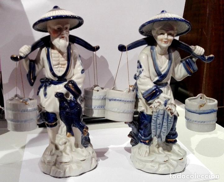 PAREJA DE PORCELANAS CHINAS (Antigüedades - Porcelanas y Cerámicas - China)