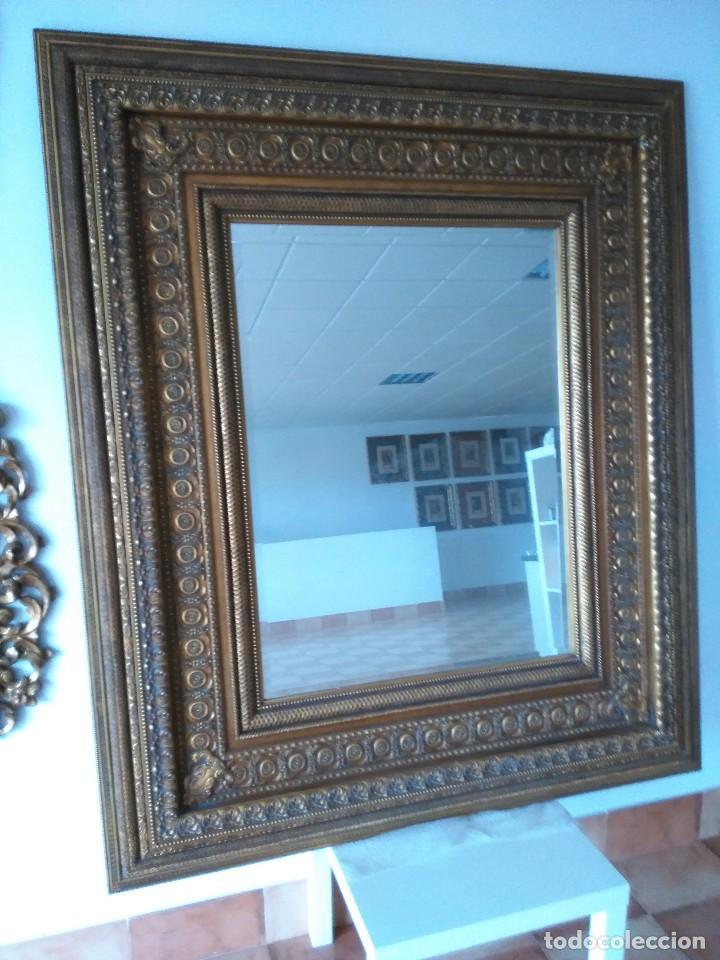 Espejo grande con ancho marco dorado comprar espejos - Espejos grandes segunda mano ...