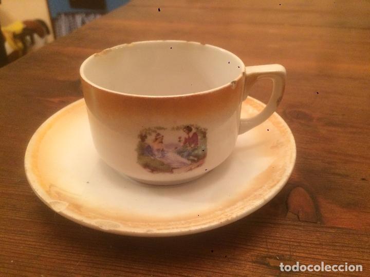 Antigüedades: Antigua 2 taza / tazas vajilla de porcelana de juego de café años 20-30 con dibujos campestres - Foto 5 - 70266837