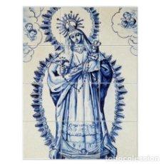 Antigüedades: RETABLO DE 12 AZULEJOS 15X15 CTM CON VIRGEN CON NIÑO. Lote 151999558