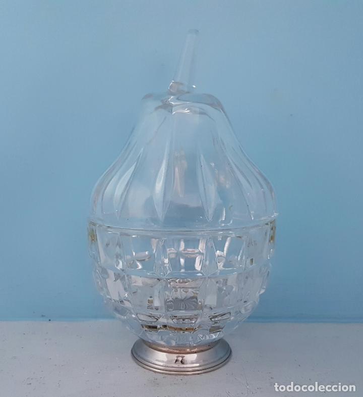 Antigüedades: Azucarero antiguo en cristal tallado y pie de plata de ley contrastada, con forma de pera . - Foto 5 - 70331605