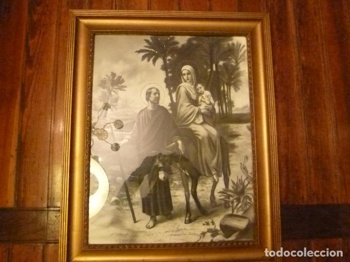 GRAN MARCO DORADO CON ESTAMPA RELIGIOSA (Antigüedades - Hogar y Decoración - Marcos Antiguos)