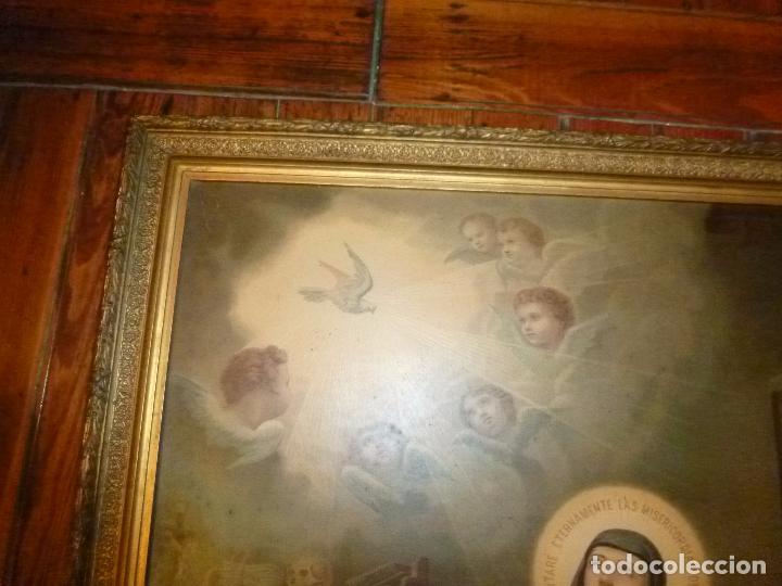 Antigüedades: GRAN MARCO DORADO CON ESTAMPA RELIGIOSA - Foto 11 - 70355329