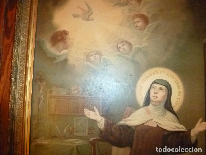 Antigüedades: GRAN MARCO DORADO CON ESTAMPA RELIGIOSA - Foto 12 - 70355329