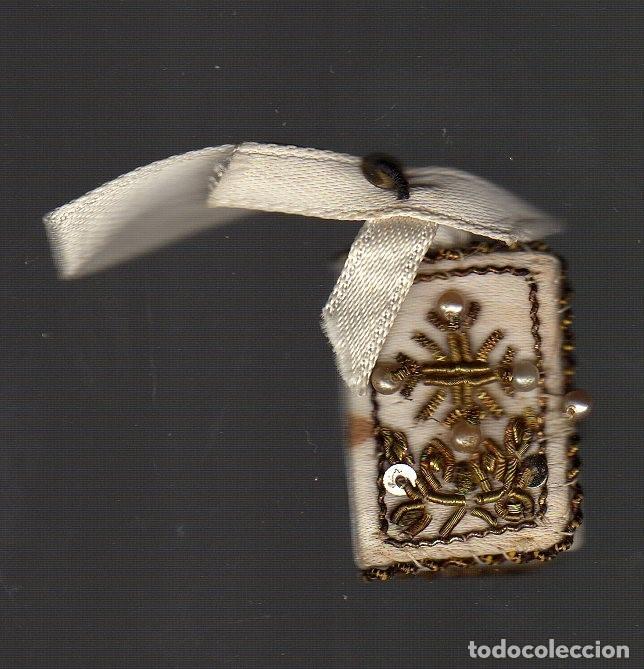 ANTIGUO ESCAPULARIO BORDADO CON HILO DE ORO CON LOS CUATRO SANTOS EVANGELIOS (Antigüedades - Religiosas - Escapularios Antiguos)