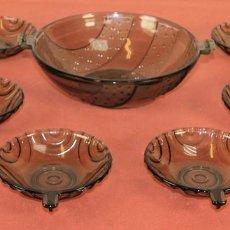 Antigüedades: JUEGO PARA MACEDONIA ESTILO ART DECO. CRISTAL FUMÉ. ESPAÑA. CIRCA 1920.. Lote 70437337