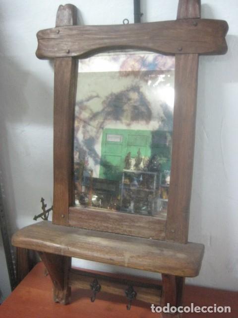 rarisimo espejo de mercurio para recibidor con cuerpo en madera de roble muy gruesa