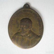 Antigüedades: MEDALLA EN BRONCE SAN VICENTE DE PAUL / VIRGEN MILAGROSA CON JACULATORIA ( 35X40MM. ). Lote 70490625