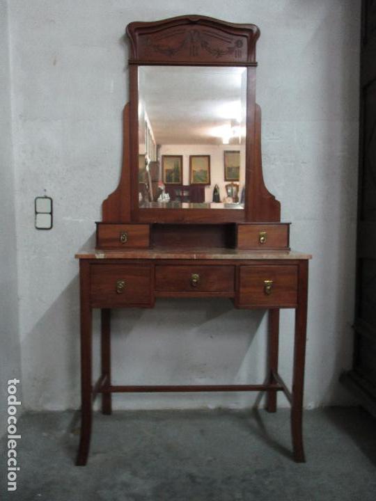 Bonito tocador antiguo con espejo art deco comprar - Muebles de madera antiguos ...