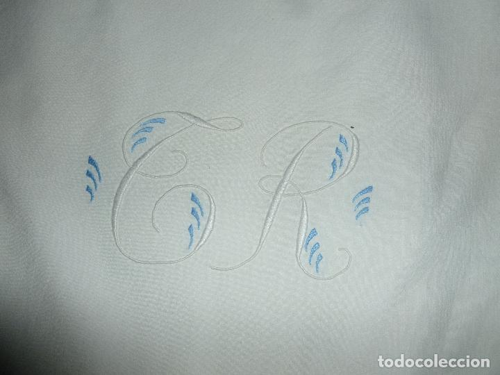 Antigüedades: SÁBANA MATRIMONIO antigua algodón - Iniciales * T R * - Foto 2 - 70513757