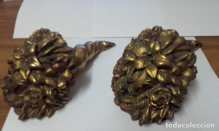 Antigüedades: cornucopia floral en dorado - cuerno de la abundancia - Foto 2 - 70521585