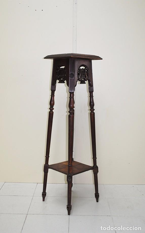 Macetero pedestal antiguo de madera tallada comprar - Macetero de madera ...