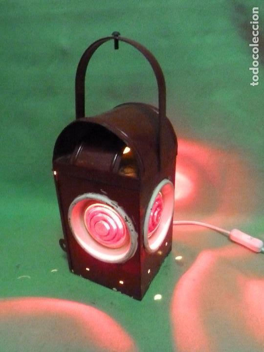 RARO FAROL SEÑAL FERROCARRIL NICOLN LAMPARA ELECTRIFICADA FERROVIARIO TREN DECORACIÓN INDUSTRIAL (Antigüedades - Iluminación - Faroles Antiguos)