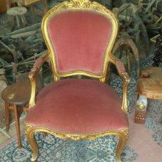 Antigüedades: PRECIOSO SILLON EN PAN DE ORO. Lote 70585215
