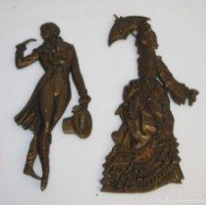 Antigüedades: GENIAL PAREJA DAMA Y CABALLERO METAL DORADO CHICO CHICA IDEAL WC RESTAURANTE PUB DECORACION VINTAGE . Lote 70619865