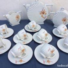Antigüedades: JUEGO ANTIGUO DE CAFÉ EN PORCELANA EPOCA ART DECO SELLADO. Lote 71022017