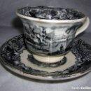 Antigüedades: TAZA Y PLATO ANTIGUO - LA CARTUJA PICKMAN SEVILLA. Lote 71026033