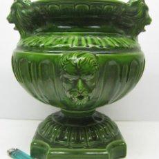 Antigüedades: ESPECTACULAR COPA JARDINERA CERAMICA ESMALTADA CON ROSTROS Y CABEZAS DE LEON. Lote 71031449