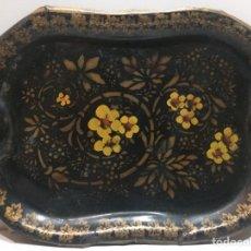 Antigüedades: ANTIGUA BANDEJA ISABELINA PINTADA AL OLEO. Lote 71041143