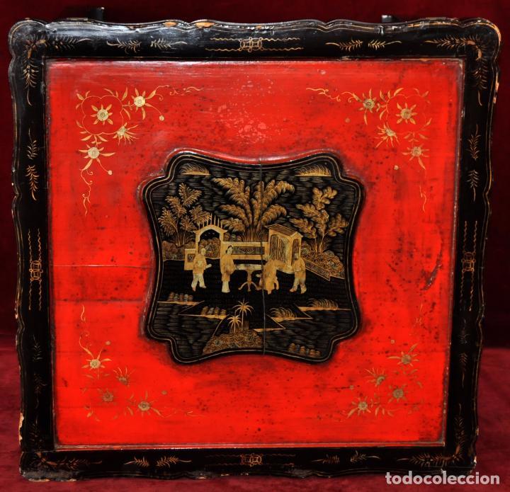 Antigüedades: ANTIGUA MESA CHINA EN MADERA LACADA. SIGLO XIX (HACIA 1880) - Foto 4 - 71074173