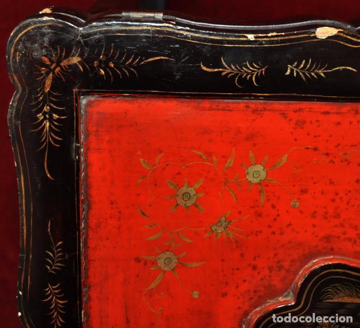 Antigüedades: ANTIGUA MESA CHINA EN MADERA LACADA. SIGLO XIX (HACIA 1880) - Foto 9 - 71074173