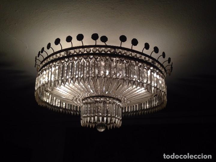 LAMPARA CRISTAL DE ROCA (Antigüedades - Iluminación - Lámparas Antiguas)