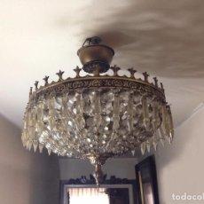 Antigüedades: LAMPARA DE CRISTAL DE ROCA. Lote 71146625