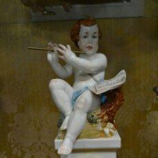 Antigüedades: ÁNGEL CON RELOJ DE PORCELANA ALGORA. Lote 71175859
