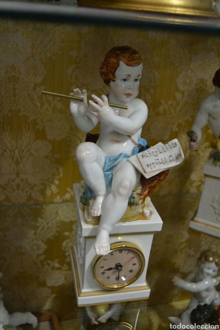 Antigüedades: Ángel con reloj de porcelana algora - Foto 2 - 71175859