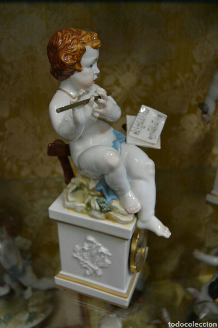 Antigüedades: Ángel con reloj de porcelana algora - Foto 3 - 71175859