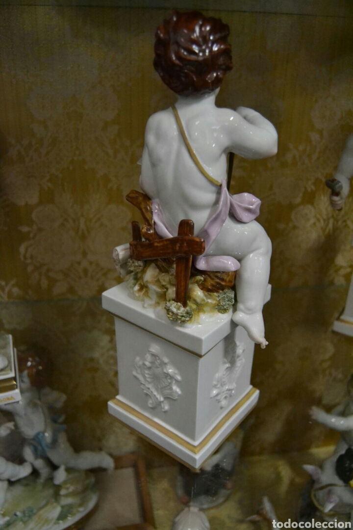 Antigüedades: Ángel con reloj de porcelana algora - Foto 5 - 71175859