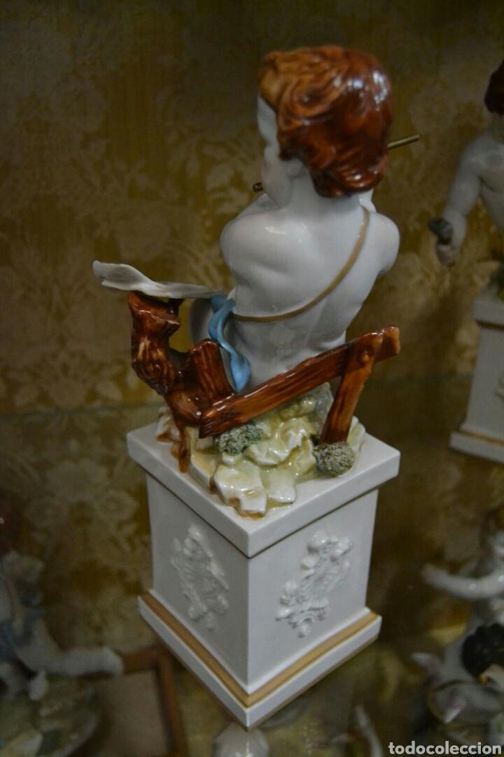 Antigüedades: Ángel con reloj de porcelana algora - Foto 6 - 71175859