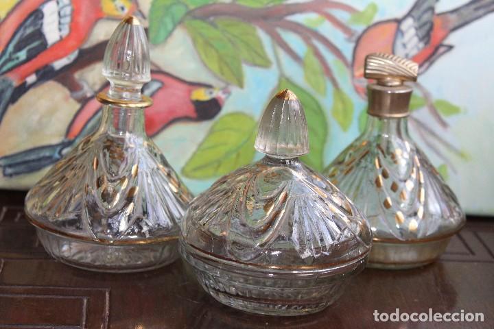 ANTIGUO Y RARO JUEGO DE TOCADOR PERFUMEROS Y POLVERA EN CRISTAL PRENSADO DE CARTAGENA 1940 (Antigüedades - Cristal y Vidrio - Santa Lucía de Cartagena)