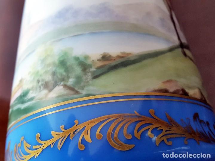 Antigüedades: FLORERO VIOLETERO PINTADO A MANO Y FIRMADO MOISES ALVAREZ. SANTA CLARA - Foto 5 - 71330947