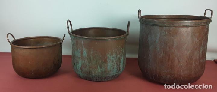 conjunto de 3 ollas de cocina en cobre. siglo x - Comprar Utensilios ...