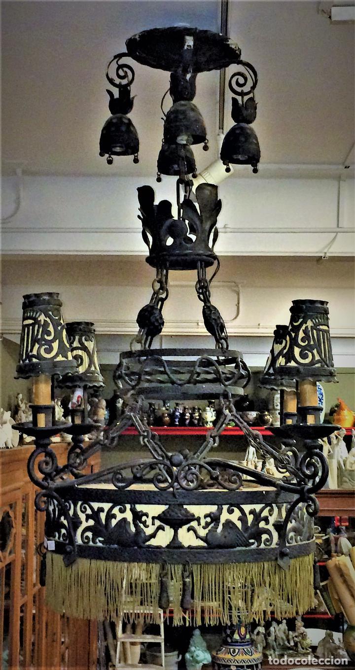 Gran l mpara de techo hierro forjado estilo m comprar l mparas antiguas en todocoleccion - Colgadores de hierro forjado ...
