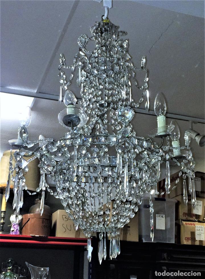 L mpara ara a cristal tallado estilo real f b comprar l mparas antiguas en todocoleccion - Lamparas de arana de cristal ...