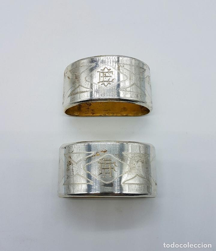 Antigüedades: Pareja de servilleteros antiguos art decó en plata de ley contrastada bellamente cincelada . - Foto 2 - 71619843