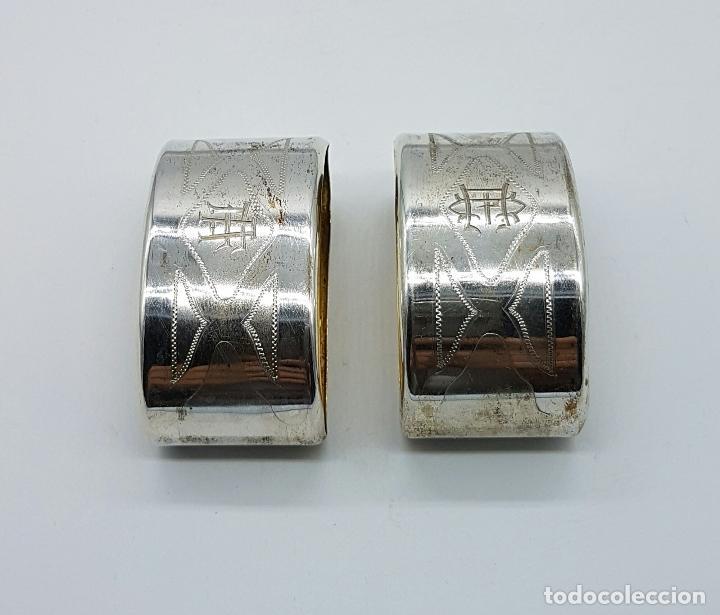 Antigüedades: Pareja de servilleteros antiguos art decó en plata de ley contrastada bellamente cincelada . - Foto 3 - 71619843