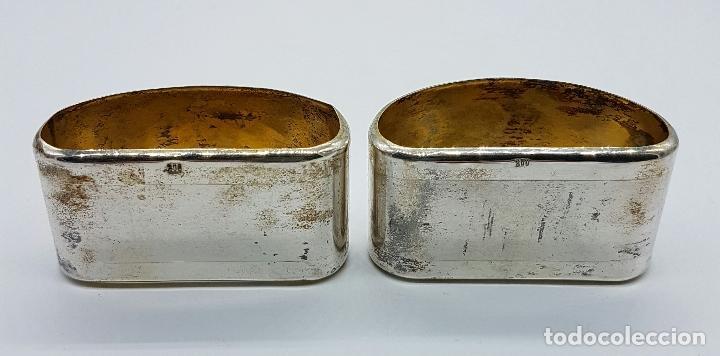 Antigüedades: Pareja de servilleteros antiguos art decó en plata de ley contrastada bellamente cincelada . - Foto 4 - 71619843