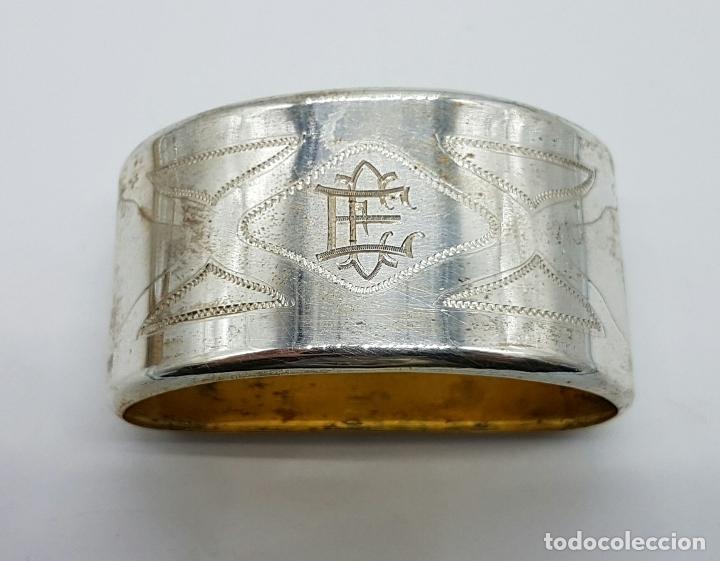Antigüedades: Pareja de servilleteros antiguos art decó en plata de ley contrastada bellamente cincelada . - Foto 5 - 71619843