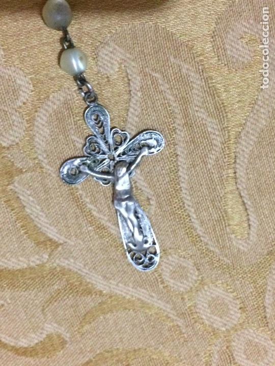Antigüedades: Rosario de nácar y filigrana de plata - Foto 3 - 71622929