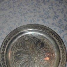 Antigüedades: ANTIGUA BANDEJA TIPO PLATO COBRE PLATEADO. Lote 71629489