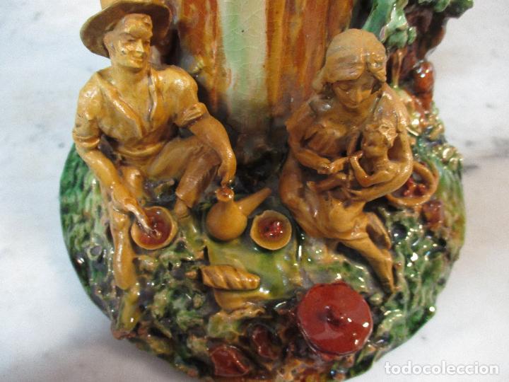 Antigüedades: Antiguo Centro de Mesa - Jarrón - Escultura en Terracota - Figuras, Comiendo en la Fuente - Foto 5 - 71631867