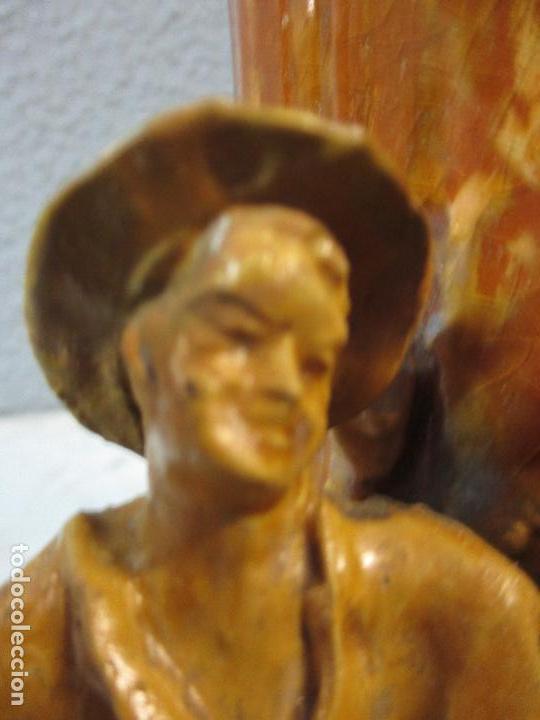 Antigüedades: Antiguo Centro de Mesa - Jarrón - Escultura en Terracota - Figuras, Comiendo en la Fuente - Foto 8 - 71631867