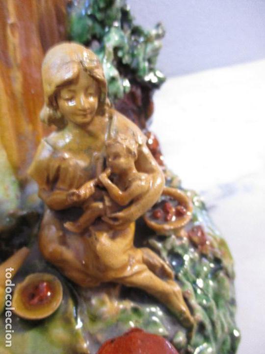 Antigüedades: Antiguo Centro de Mesa - Jarrón - Escultura en Terracota - Figuras, Comiendo en la Fuente - Foto 9 - 71631867