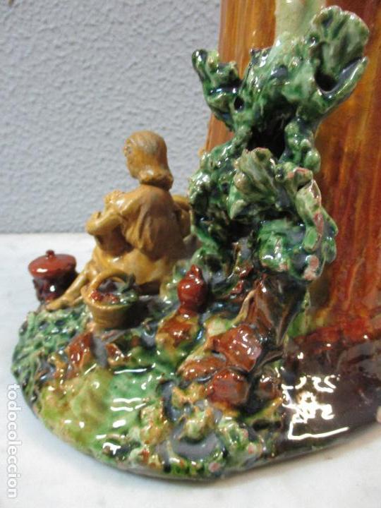 Antigüedades: Antiguo Centro de Mesa - Jarrón - Escultura en Terracota - Figuras, Comiendo en la Fuente - Foto 18 - 71631867