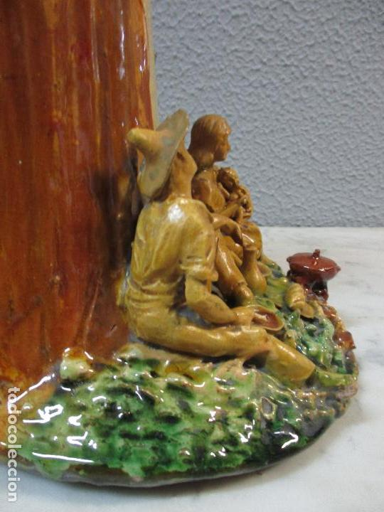 Antigüedades: Antiguo Centro de Mesa - Jarrón - Escultura en Terracota - Figuras, Comiendo en la Fuente - Foto 25 - 71631867